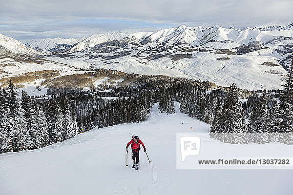 View from above of a woman skiing up a hill  Crested Butte  Colorado  USA