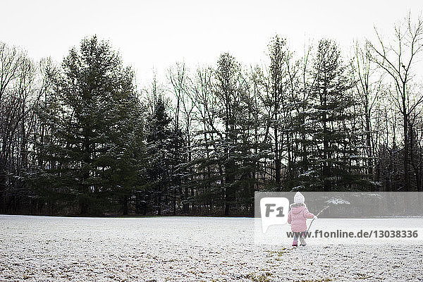 Rear view of girl holding stick while walking on snowy field