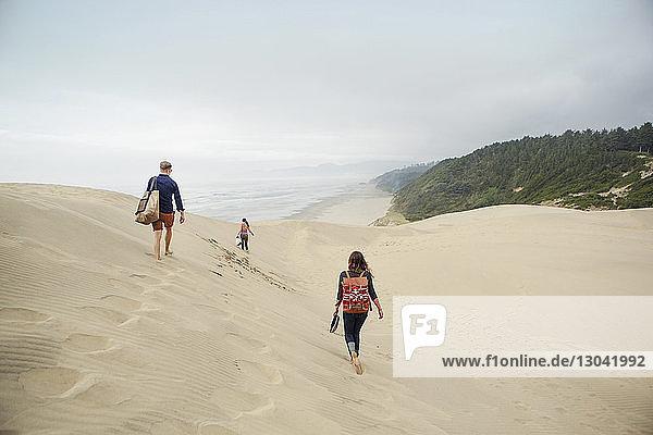 Rückansicht von Freunden  die auf einer Sanddüne gegen den Himmel laufen