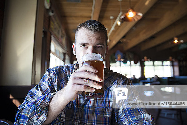 Portrait of man having beer while sitting in restaurant