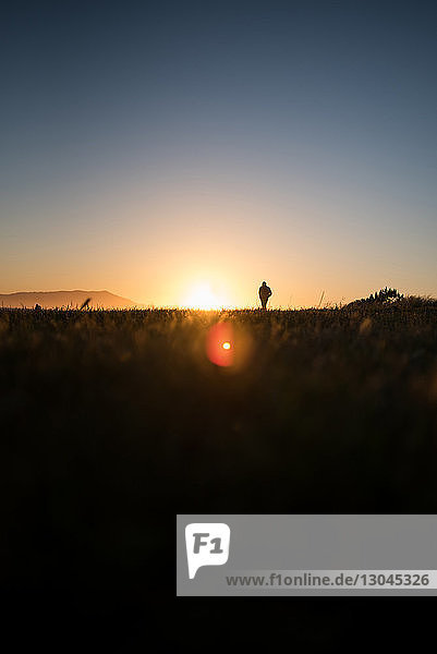 Silhouette woman standing on field against clear sky during sunset