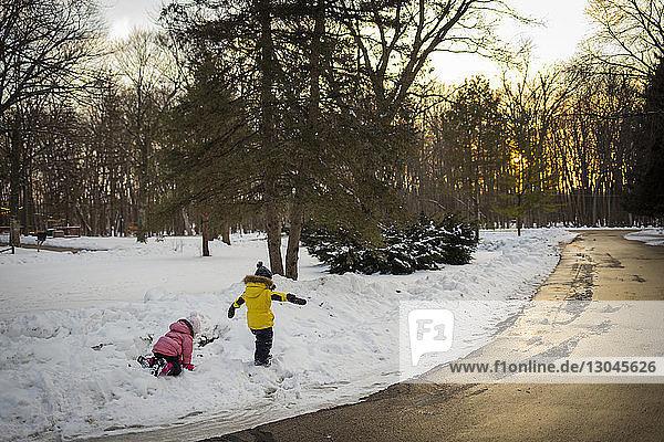 Glückliche Geschwister spielen auf schneebedecktem Feld