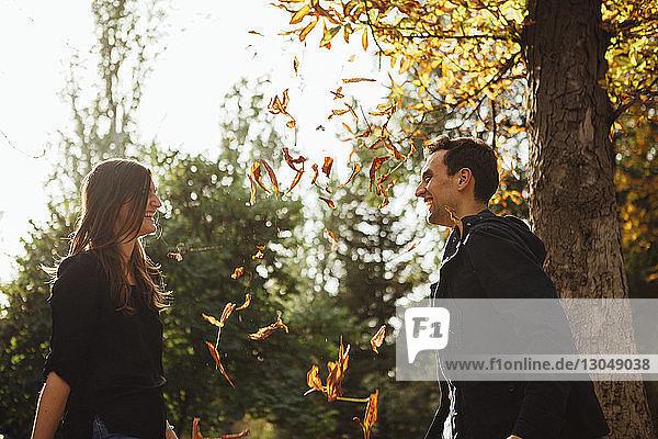 Seitenansicht eines verspielten Paares im Park