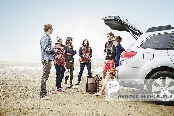 Happy friends standing by car on beach