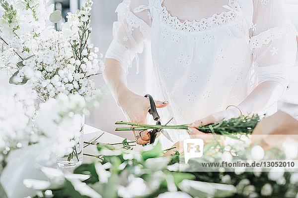Junge Frau in weißem Kleid schneidet weiße Blumen  Mittelteil