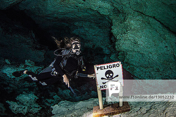 Cenote cave diving  Tulum  Quintana Roo  Mexico