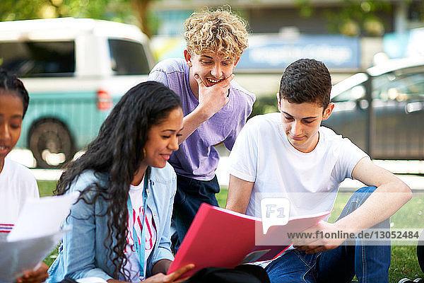 Weibliche und männliche Hochschulstudenten lesen auf dem Rasen des College-Campus Papierkram