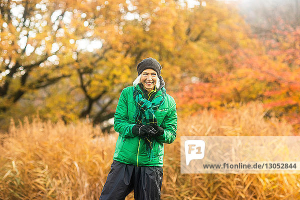 Mature woman exercising in park