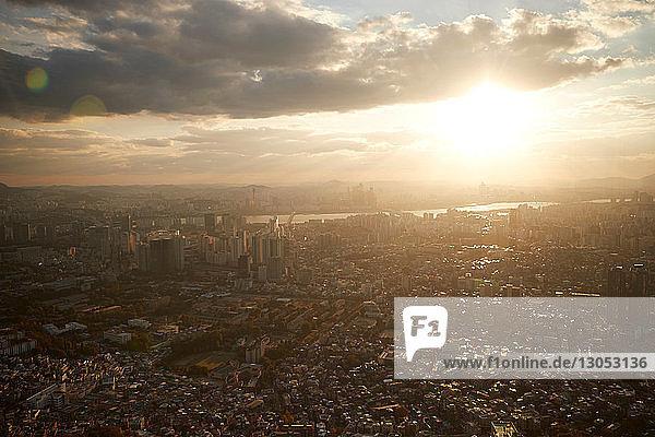 Cityscape at sunrise  Seoul  South Korea