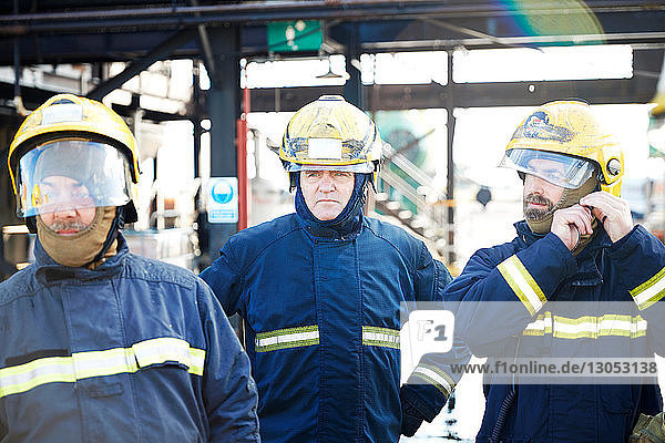 Firemen in firewear ready for training  Darlington  UK