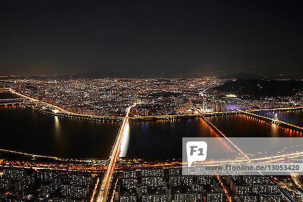Cityscape at night  Seoul  South Korea