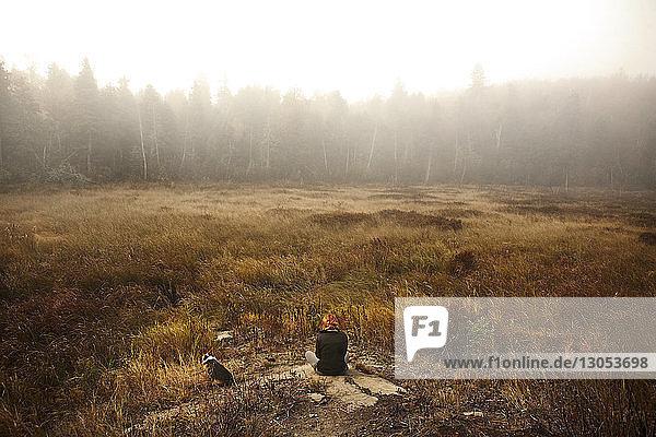Rückansicht einer Frau  die auf Felsen im Feld sitzt
