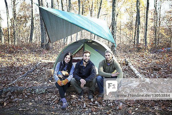 Porträt von Freunden  die auf einem umgefallenen Baumstamm sitzen  am Zelt im Wald