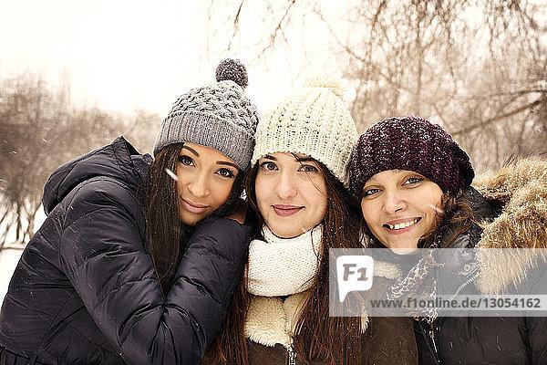 Porträt glücklicher Freunde im Park im Winter