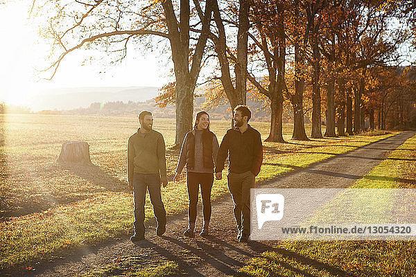 Freunde gehen auf einem Spazierweg mitten im Feld