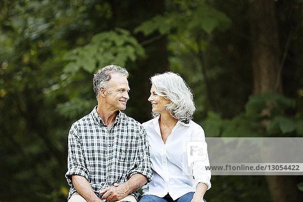 Romantisches Seniorenpaar sitzt im Wald