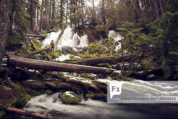 Wanderer  der sich im Winter im Wald gegen einen Wasserfall stellt