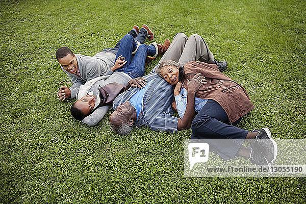 Glückliche Familie liegt auf Grasfeld