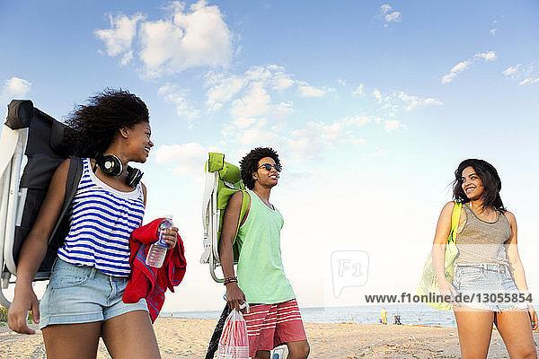Glückliche Freunde stehen am Strand gegen den Himmel
