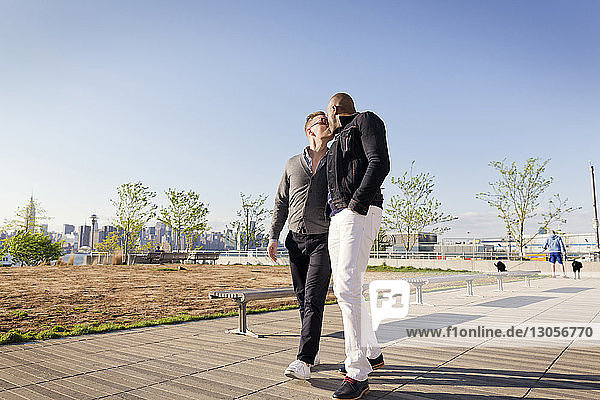 Gay men kissing while walking on footpath in park against clear sky
