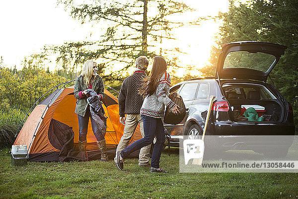 Glückliche Freunde bereiten mit dem Auto auf einem Feld im Wald ein Zelt vor