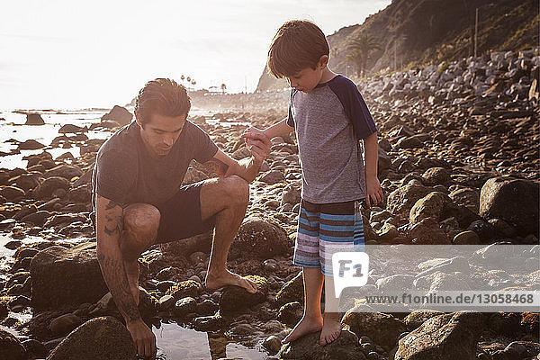 Vater und Sohn bei Sonnenuntergang am Strand