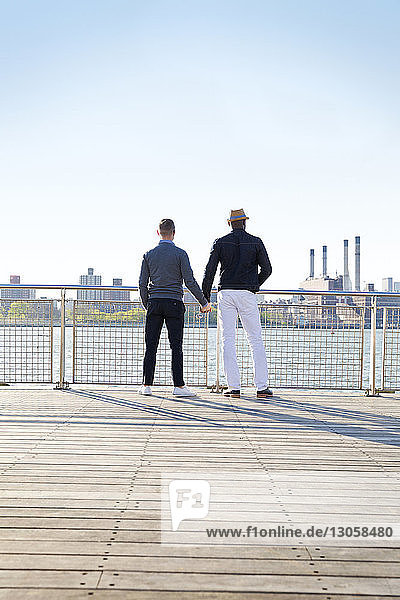 Rear view of gay men holding hands while standing on pier against clear sky