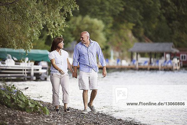 Glückliches Paar hält sich beim Spaziergang am Seeufer an den Händen