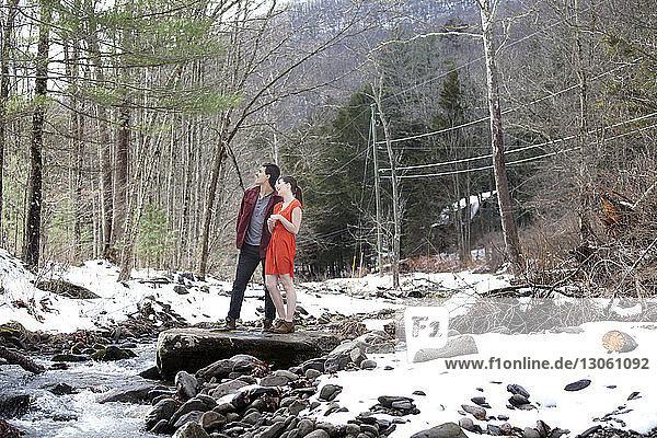 Ehepaar steht auf einem Felsen am Fluss