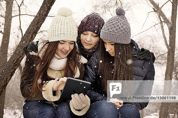 Freunde benutzen digitales Tablet im Park bei Schneefall