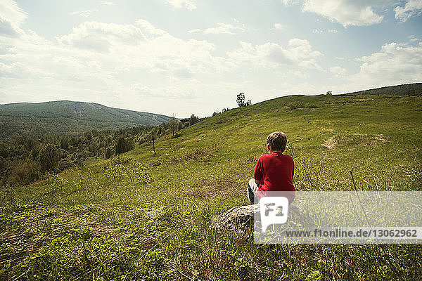 Rear view of boy sitting on rock at grassy field against sky