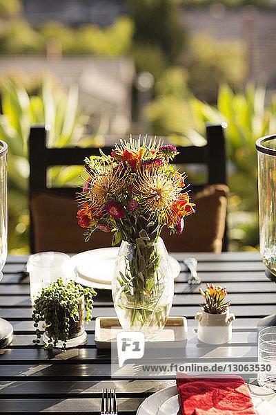 Flower vase on dinning table