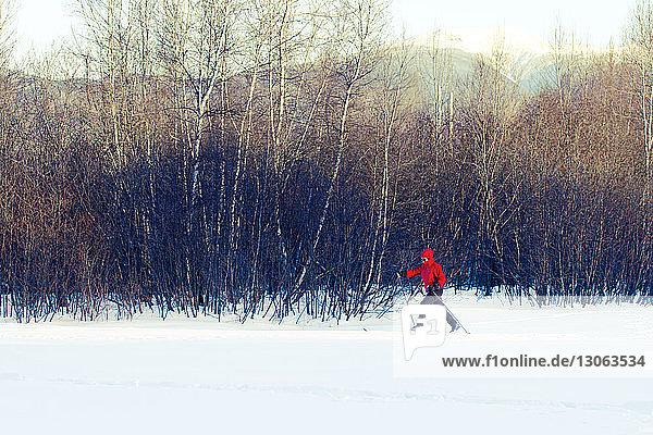 Frau in voller Länge beim Skifahren auf schneebedecktem Feld mit kahlen Bäumen