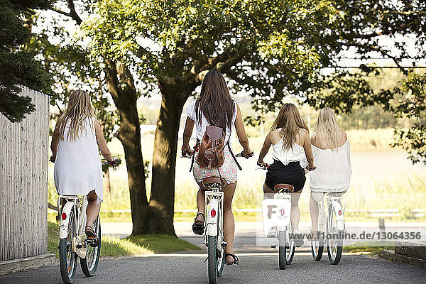Rear view of women cycling on road