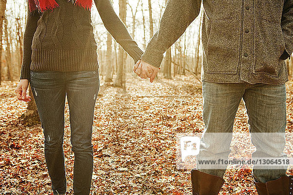 Midsection of couple holding hands while standing in forest