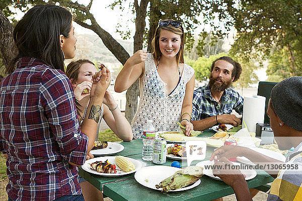 Cheerful friends enjoying food at table in backyard