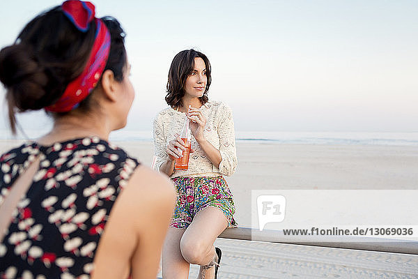 Rear view of woman with friend on pier at beach