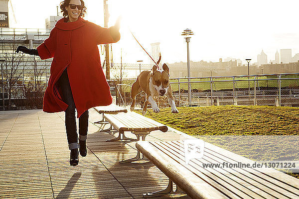 Woman running with dog jumping on benches at park