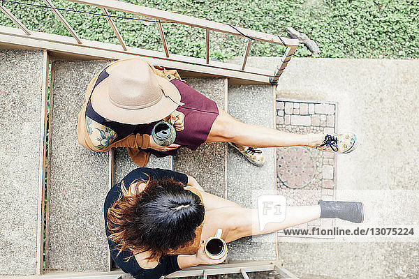 Overhead view of female friends having coffee while sitting on steps