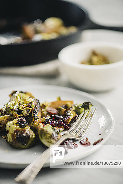 Close-up of Brussels sprouts served in plate