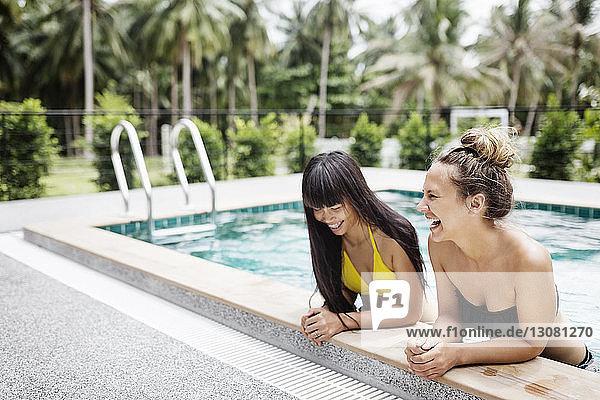 Glückliche Freundinnen entspannen sich im Schwimmbad