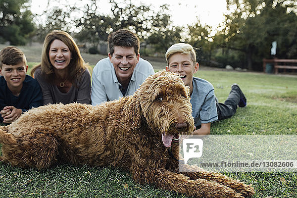 Happy family with Irish Wolfhound lying on grassy field at park