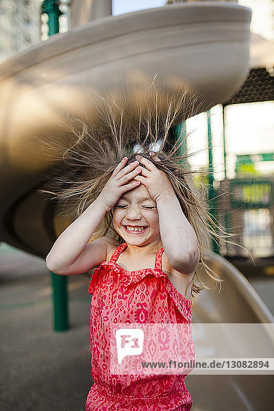 Happy girl in playground