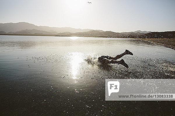 Sorgloser Mann springt bei Sonnenschein gegen klaren Himmel in den See