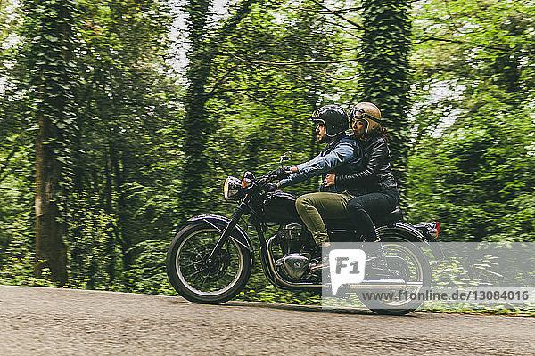 Seitenansicht eines motorradfahrenden Ehepaares auf der Straße bei Bäumen und Pflanzen im Wald
