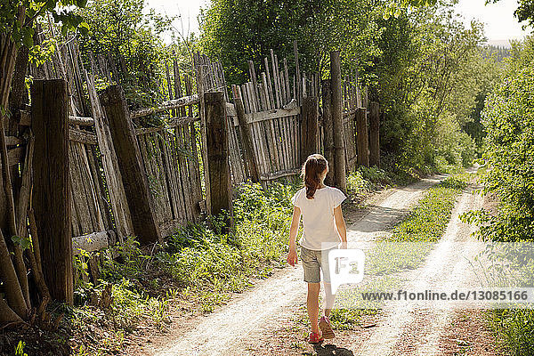Rear view of girl walking on dirt road by wooden fence during sunny day