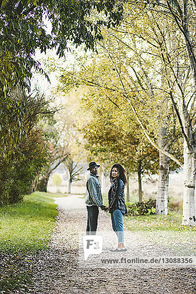 Porträt eines Paares  das sich im Herbst auf einem Fußweg im Park an den Händen hält