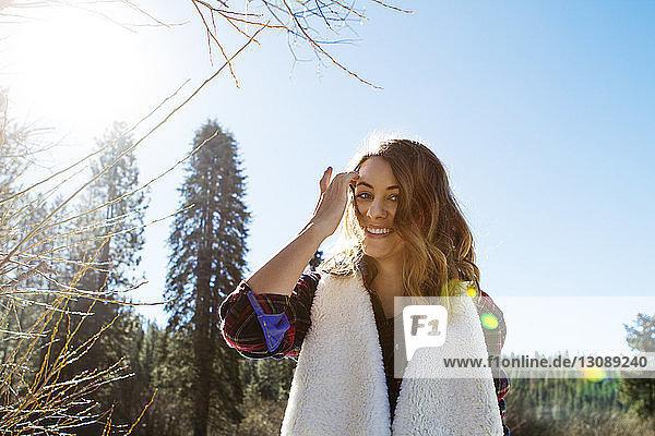 Portrait of happy woman outdoors