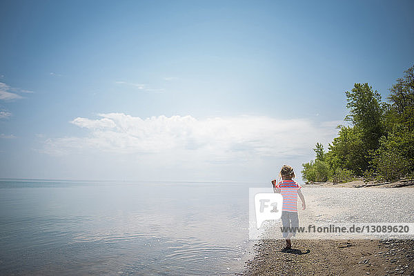 Rear view of girl walking at shore against sky