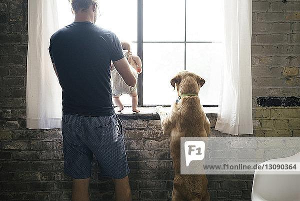 Rückansicht eines Vaters mit Tochter und Hund beim Blick durchs Fenster
